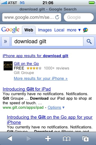 Google-Mobile-Gilt-Application-SERP-Result