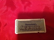 "From former Customer and blog reader Anita Varela. ""I was cleaning out my storage when I came across my little charge plate. Many good memories of Donenfeld's and downtown Dayton. My children liked to ride on the elevator because it had a live operator. I still have my fur coat that I saved for a year to get. It's sad to see how that part of town looks now and the arcade all closed up."" Thanks Anita for pics of this Donenfeld's Charg-A-Plate Token!"
