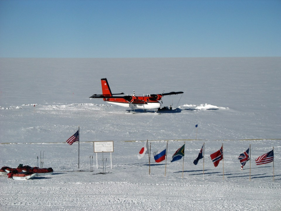 A Twin Otter aircraft at NSF's Amundsen-Scott South Pole Station in a 2006 photograph.