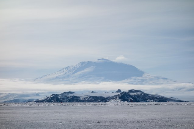 The first view stepping off at McMurdo: Mt. Erebus looming in the distance.