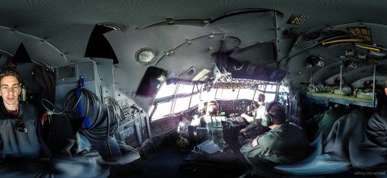 The 50's era cockpit of the Herc, with panoramic windows.