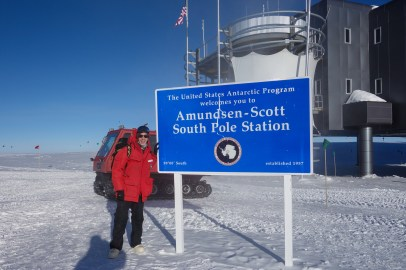 Arrived at the Amundsen-Scott South Pole Station, Antarctica. The geographic pole is about 200 meters away from this sign.