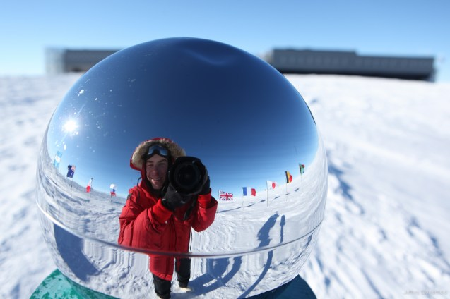 The mirrored ball at the Ceremonial South Pole. This pole is only used for ceremonial purposes, and does not mark anything.
