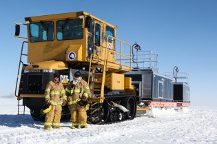 "The station's fire crew drives ""Elephant Man""."