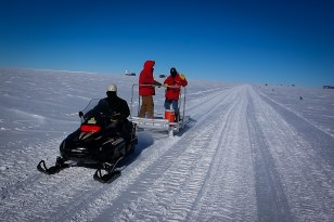Taking a snowmobile ride out to the ARA-3 deployment site.