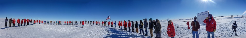 Since the south pole station is on a moving sheet of ice, the location of the marker planted in the moving ice drifts by about 10 meters per year. Every years on new years day, the Geographic South Pole Marker is re-planted at the true pole of the earth, and a new metal marker is revealed. In this ceremony, the station staff are symbolically passing the American Flag from the 2012 marker location to the new 2013 marker location.