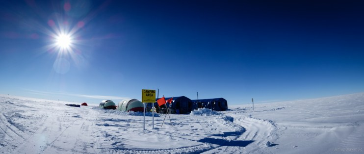 """Toursts visit the south pole too. Although they are allowed in the elevated station for brief tours, they are restricted to camping out in the """"NGO Camp"""" about a half mile away from the station. Adventure Network International runs the tourist camp."""