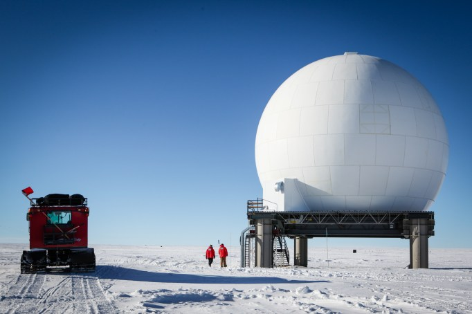 The Golf Ball, which houses the GOES and Skynet satellite uplinks. These links provide voice and data access to the station.