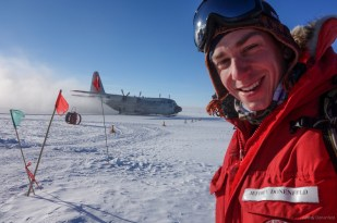My last day at South Pole, with the LC-130 idling on the skiway.