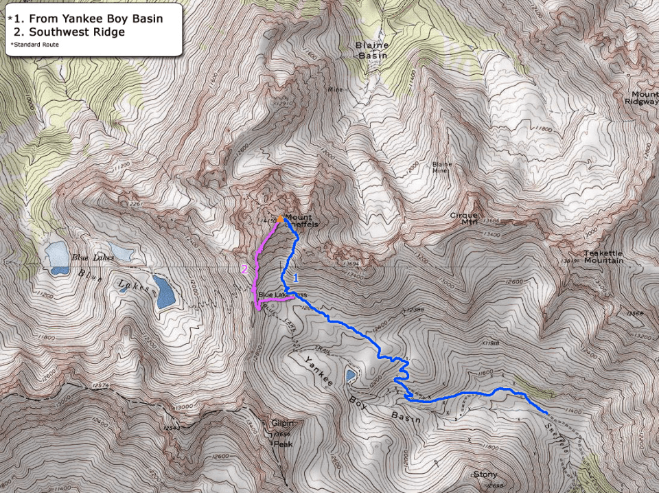 Mt. Sneffels Climbing Routes Map