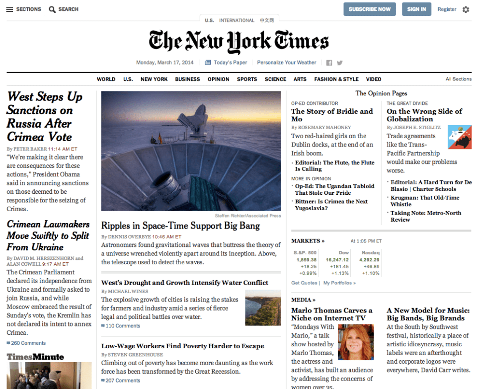 Appearing on front page of NY Times