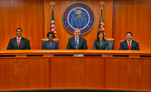 The FCC commissioners (left to right): Ajit Pai, Mignon Clyburn, Tom Wheeler (chairman), Jessica Rosenworcel, and Michael O'Rielly.