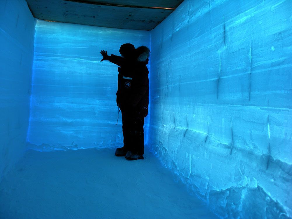 WAIS Divide Ice Core: Backlit Snow Pit A researcher examines layers in a snow pit deposited by different storms. Credit: Dr. Kendrick Taylor (kendrick.taylor@dri.edu) Photo from https://www.flickr.com/photos/ice_drilling/sets/72157626163425403
