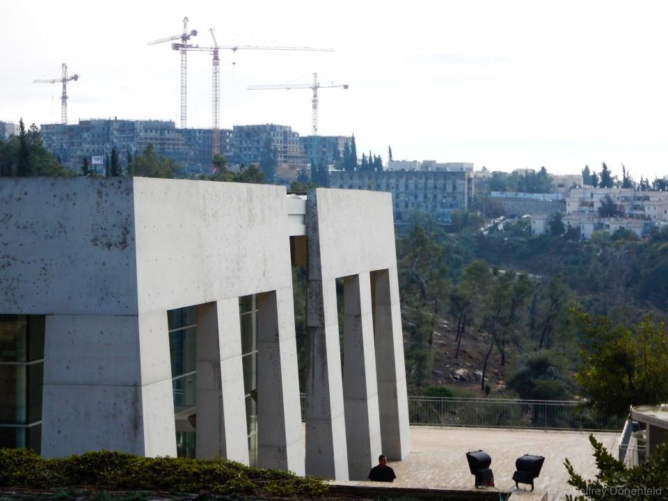 Construction looms closeby the holocaust memorial, Yad Vashem.