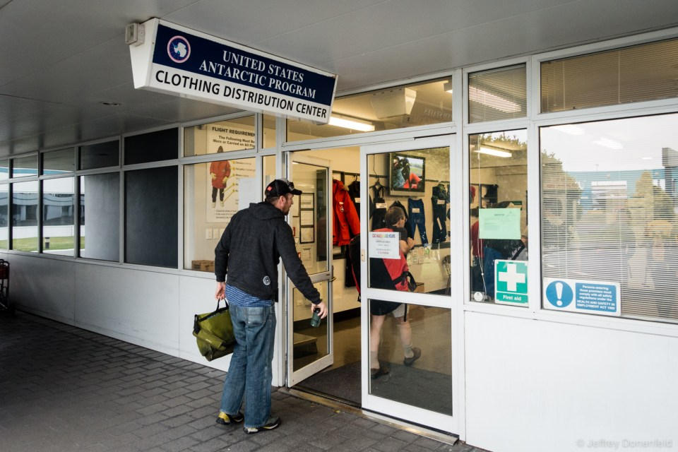 Entering the Clothing Distibuton Center in Christchurch, New Zealand. It's here we receive our Extreme Cold Weather gear issue, as well as go through basic briefing for our upcoming travel.