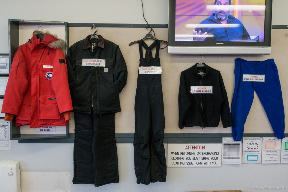 United States Antarctic Program standard issue Extreme Cold Weather gear issue, laid out for explanation.