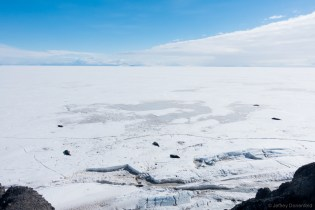 At the tip of Hut Point, seals come onto the surface of the ice through a hole in one of the cracks near shore.