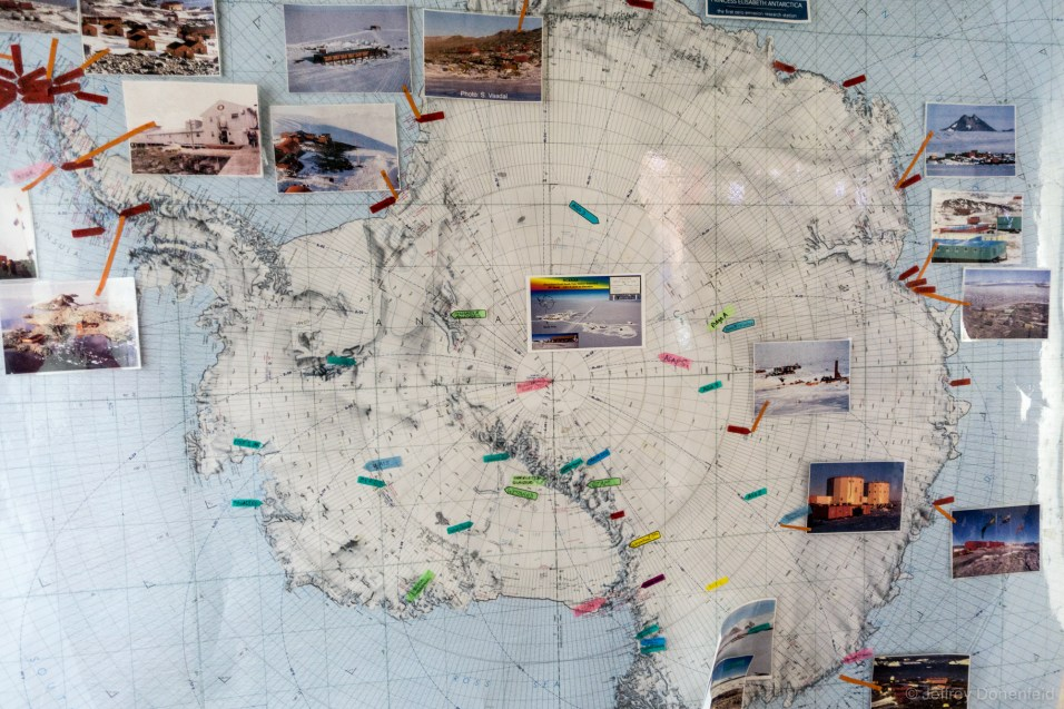 A map of key field camps and stations, with associated pictures.