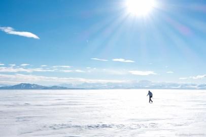 Hiking across the ice shelf to the crash site of the Pegasus