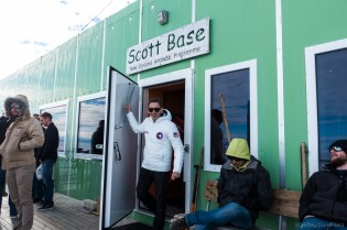 Exiting the main admin building at Scott Base with my nifty Betabrand Space Jacket.