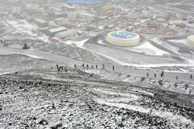 The Ob Hill Uphill. We start at the base of Observation Hill on the edge of McMurdo, and run to the top. Obviously, it was snowy that day. Photo taken by Peter Rejcek.