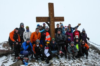The finishing group at the top of Observation Hill - the wind really whips up there, and it gets cold quickly - especially with light running gear on.