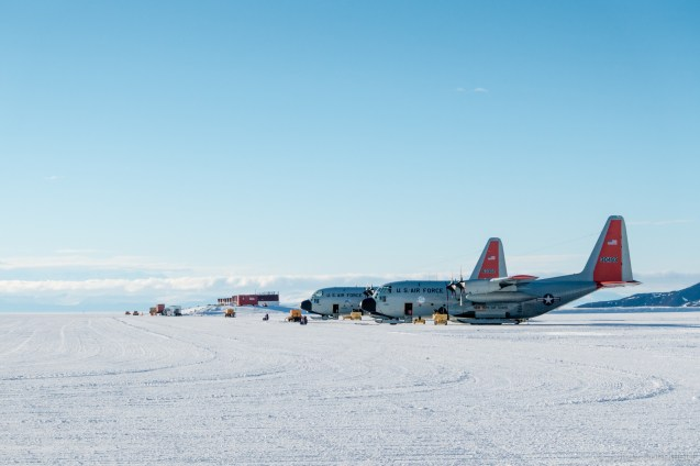 LC-130 Hercules' line up at Williams Field ice runway, outside of McMurdo Station.