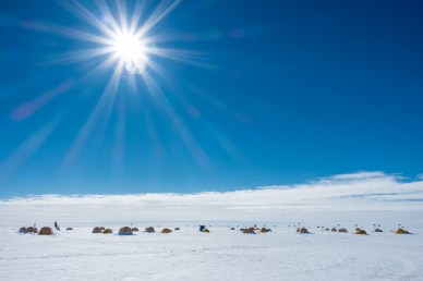 Tents arranged on the West Antarctic Ice Sheet