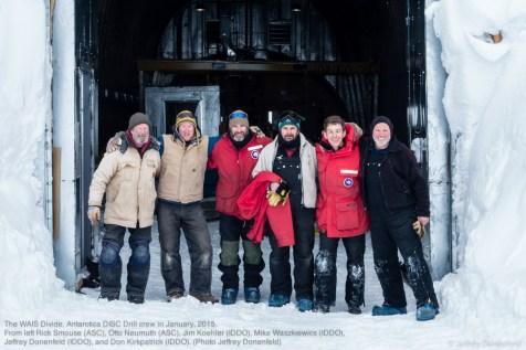 The WAIS Divide, Antarctica DISC Drill crew in January, 2015. From left Rick Smouse (ASC), Otto Neumuth (ASC), Jim Koehler (IDDO), Mike Waszkiewics (IDDO), Jeffrey Donenfeld (IDDO), and Don Kirkpatrick (IDDO).