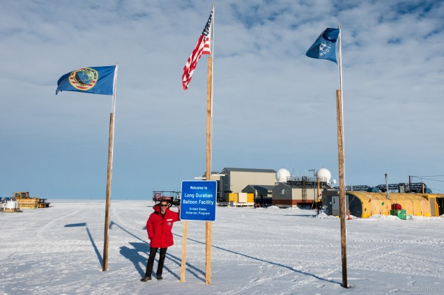 The entrance to the US Long Duration Balloon Facility, located on the Ross Ice Shelf, just a bit away from McMurdo Station. The facility is located pretty much in the middle of nowhere on the large, flat, stark ice surface.