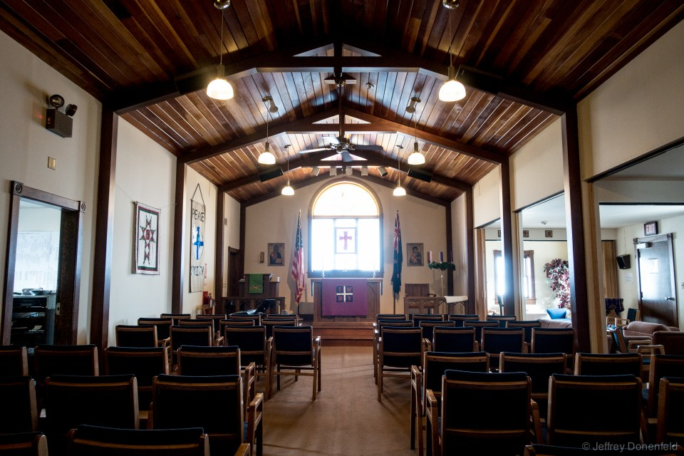 """Inside the """"Chapel of the Snows"""" at McMurdo."""