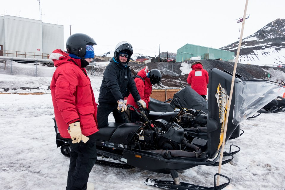 Our on-ice checkout of the snowmobiles, to make sure we're comfortable riding and operating.
