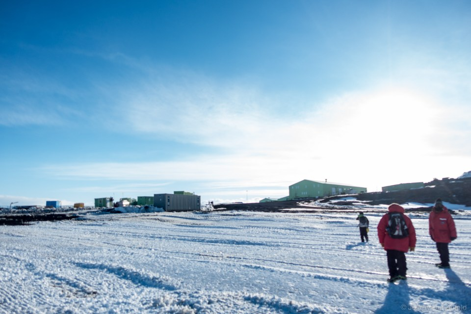 Hiking up to Scott Base after hiking through the ice pressure ridges on the Ross Ice Shelf.