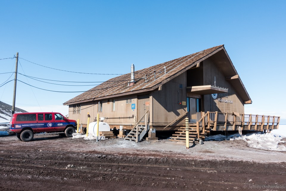 The chalet is located on the corner of town, with easy access from the center of town, and a stunning view to McMurdo sound off the back deck. Unlike the industrial architecture of most buildings at McMurdo, the chalet has a style of its own.