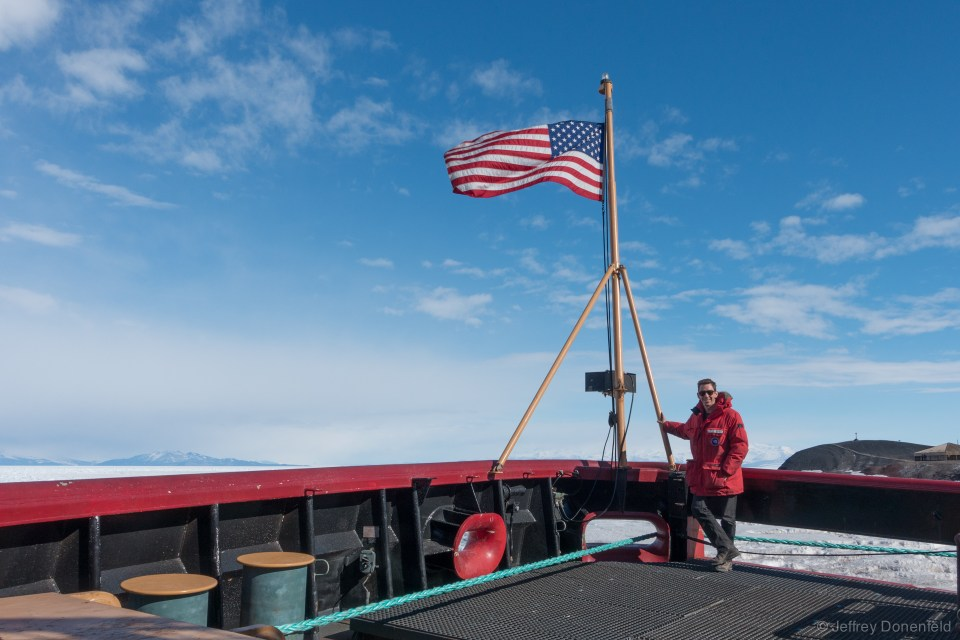 Requisite shot on the stern, with the flag.