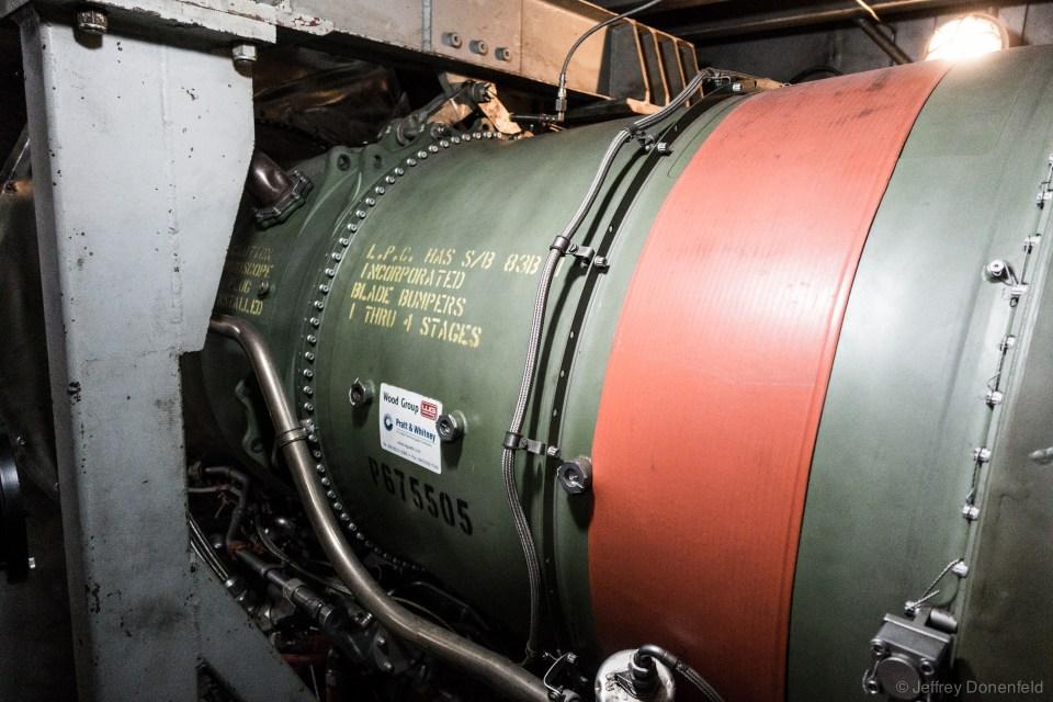 One of the three massive jet turbines.