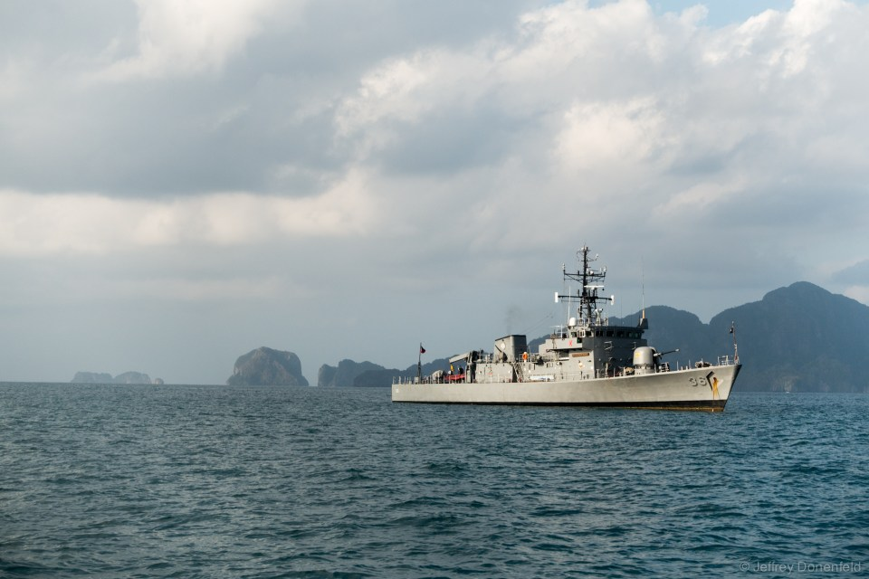 The Filipino Navy, patroling the waters around El Nido.