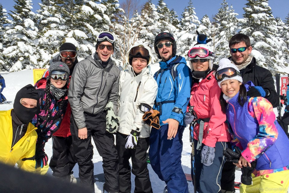 A few of us got together before lunch for some big group runs. Skiing as a group is fun for a run or two, but gets annoying quickly as you spend half your time waiting for everybody.