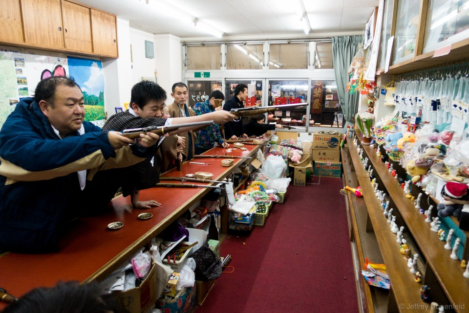 Strangely, Shibu Onsen also has a couple of cork-gun shooting galleries. People love it!