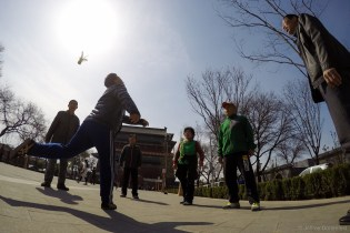 Folks playing in the central hutong area of beijing.