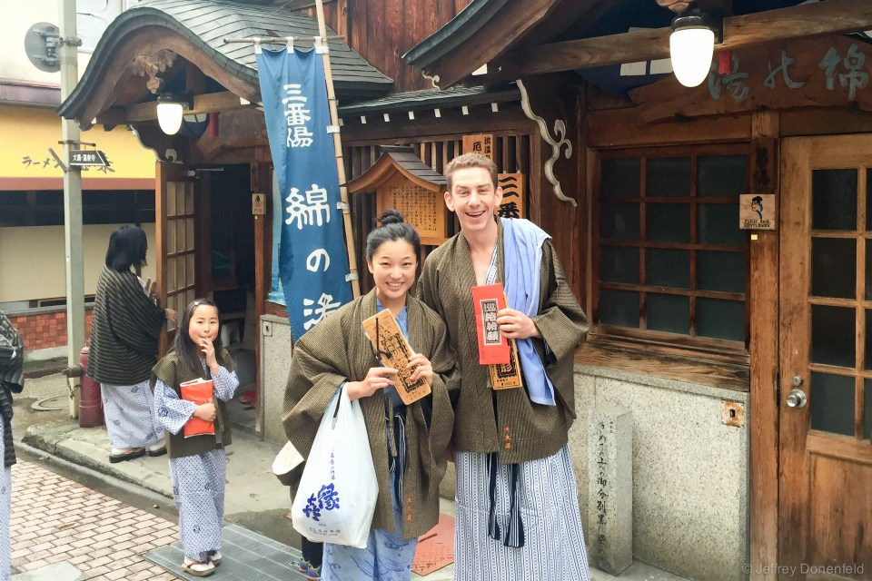 After snow monkeys, we went back to our homestay and changed into comfy robes and not so comfy wooden flip flops, grabbed our keys, and went out to hit all 9 Shibu Onsen Onsens. The red pouch I'm holding has my onsen cloth, which has the names of all 9 onesns, and is stamped at each one. Saori is holding her key, attached to a piece of wood with a map of town.