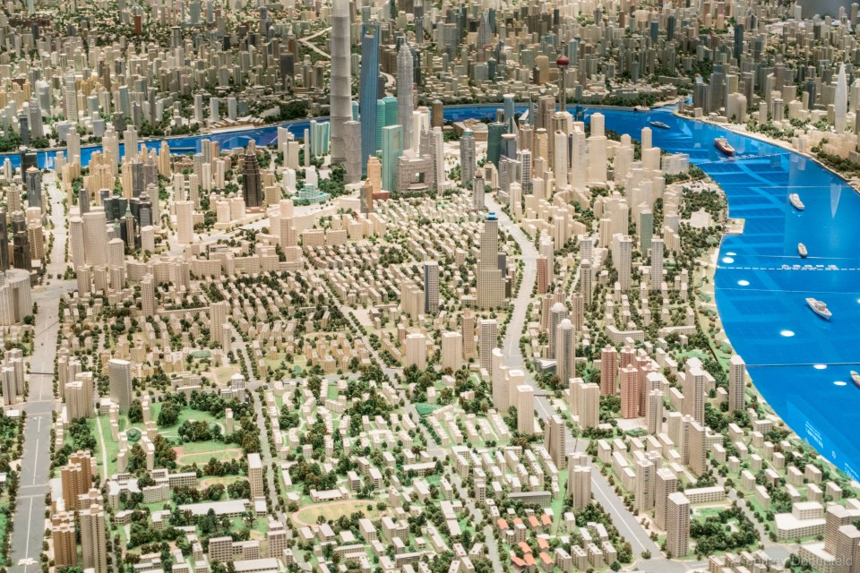At the Shanghai Urban Planning Exhibition Center,  a scale model of the entire city. Huge!