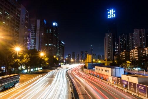 Nightly traffic in Shenzhen.