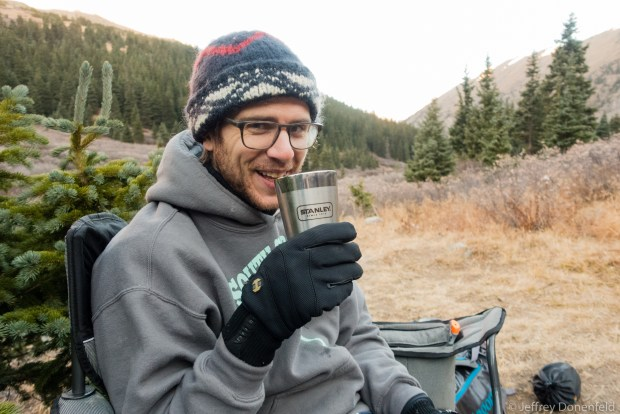 Kevin enjoying fresh morning coffee from the Stanley Stacking Vacuum Pint before a late-fall ascent of Grays and Torreys peaks.