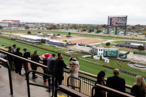 Our vantage point on the Breeders Cup from the Longines box seat in the mansion.