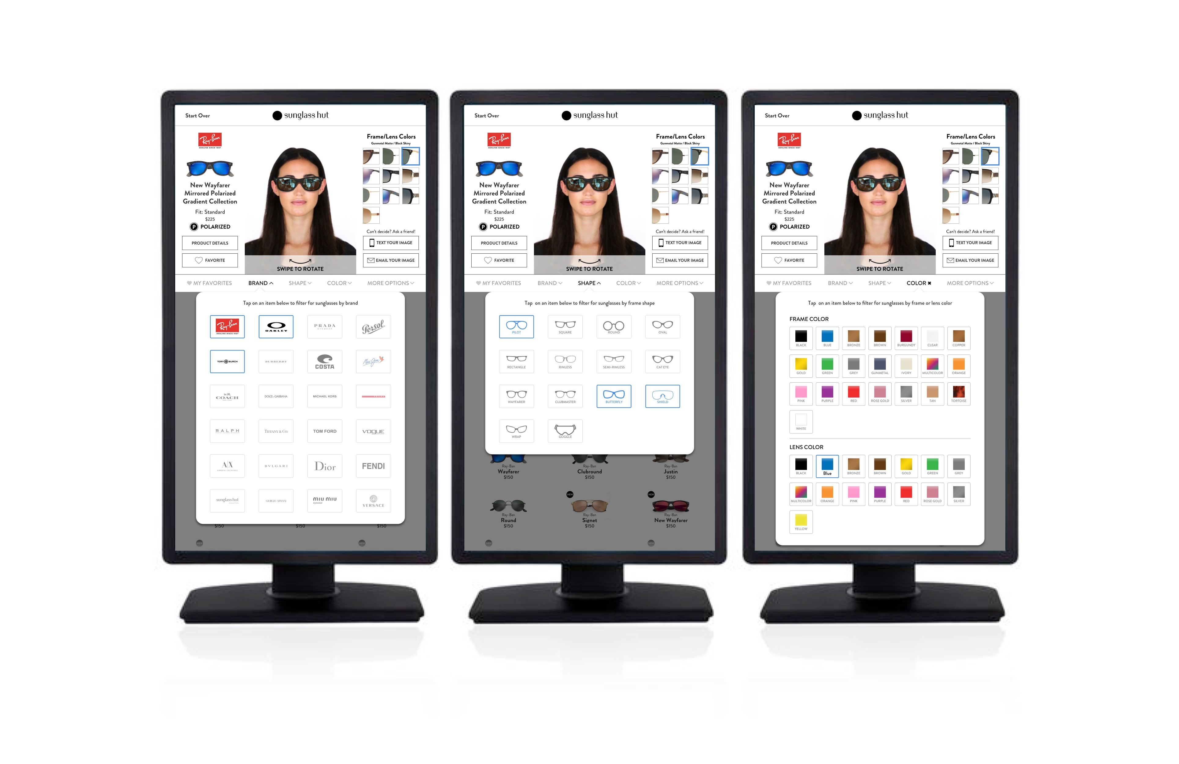 Sunglass Hut VTO Kiosk – 3-screens – Filters