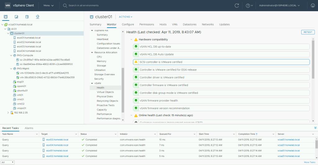 How to Silence vSAN Health Checks in a Nested Homelab so VMware
