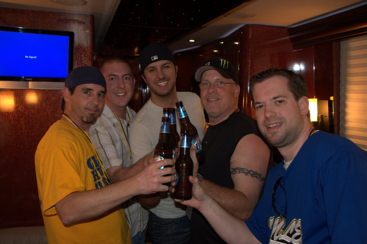 This was before Luke Bryan became a superstar. (Jason Pawlik, Drew Bland, Luke, Charlie Huero and me)