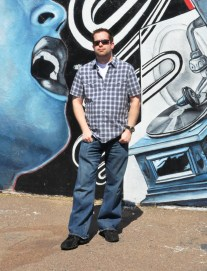 We took this publicity shot in front of an existing mural downtown. How perfect was that for radio?