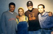 I'd often wander down the hall to Kiss-FM for a celeb pic. (Nick Lachey, Jessica Simpson, Shark & me.)